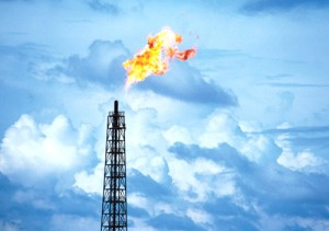 Methane flaring from natural gas well (image via Ecowatch)