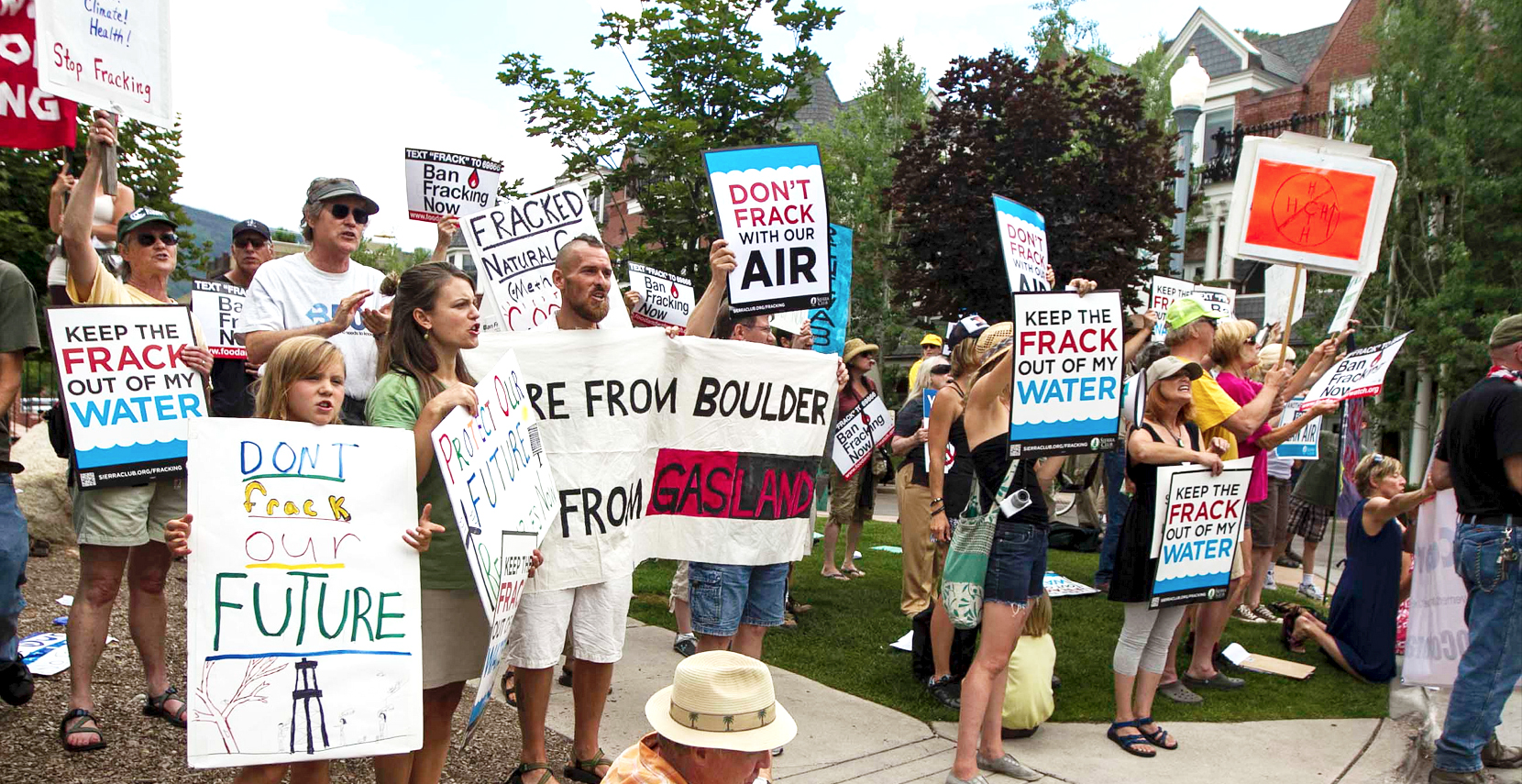 Anti-fracking protest in Boulder (image via Ecowatch)