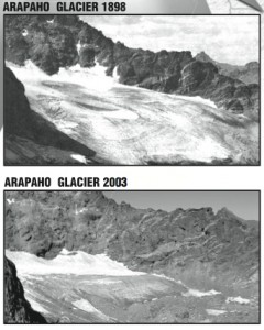 Arapaho Glacier, in the Indian Peaks Wilderness Area, 1898 (top) and 2003