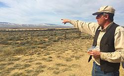 Rancher T. Wright Dickinson surveys sage grouse habitat on his cattle's summer range. (JZ)